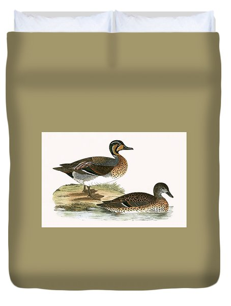 Clucking Teal Duvet Cover by English School