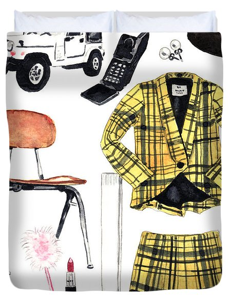 Clueless Movie Collage 90's Fashion Duvet Cover