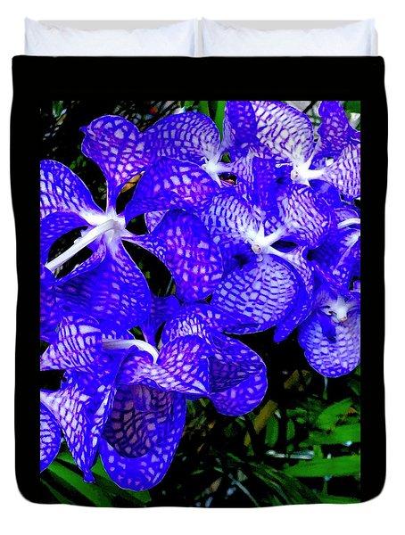 Cluster Of Electric Blue Vanda Orchids Duvet Cover