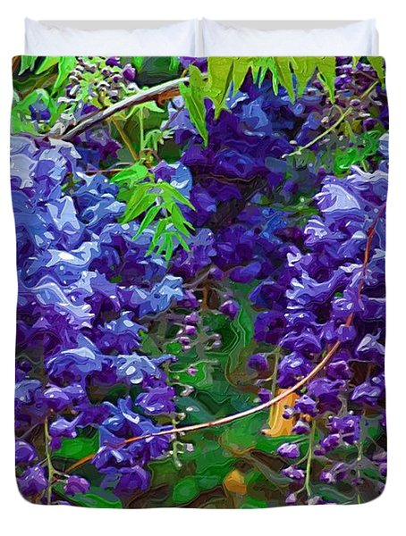 Duvet Cover featuring the photograph Clusters Of Wisteria by Donna Bentley