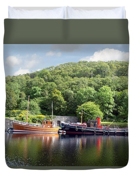 Clyde Puffer On The Crinan Canal Duvet Cover