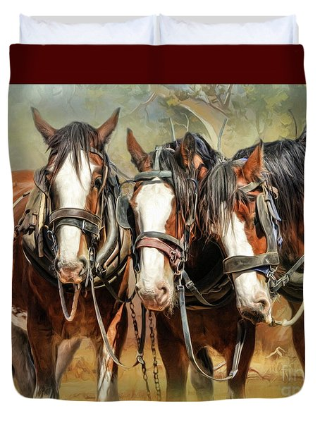 Duvet Cover featuring the digital art  Clydesdale Conversation by Trudi Simmonds
