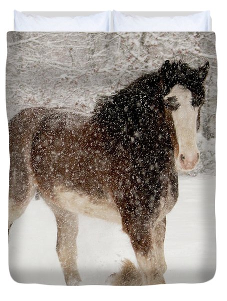 Clydesdale In The Snow Duvet Cover