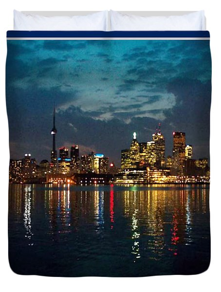 Cn  Tower And Toronto Down Town Water Front Beauty At Night Full Blast Photo Duvet Cover