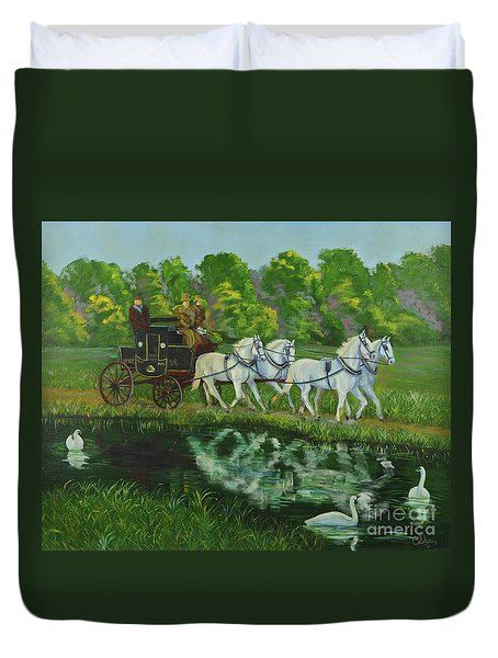 Coach And Four In Hand Duvet Cover by Charlotte Blanchard