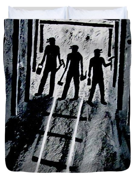 Coal Miners At Work Duvet Cover