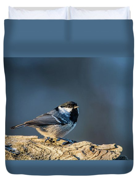 Duvet Cover featuring the photograph Coal Tit's Colors by Torbjorn Swenelius