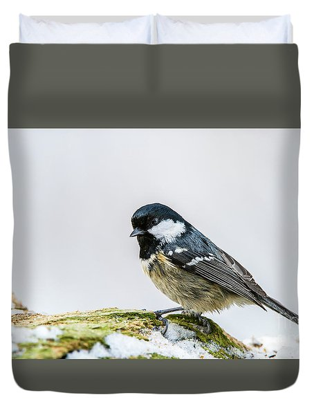Duvet Cover featuring the photograph Coal Tit's Profile by Torbjorn Swenelius