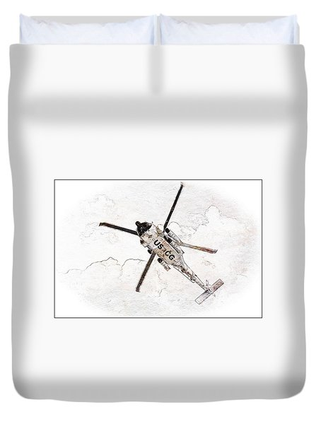 Duvet Cover featuring the photograph Coast Guard Helicopter by Aaron Berg
