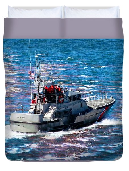 Duvet Cover featuring the photograph Coast Guard Out To Sea by Aaron Berg