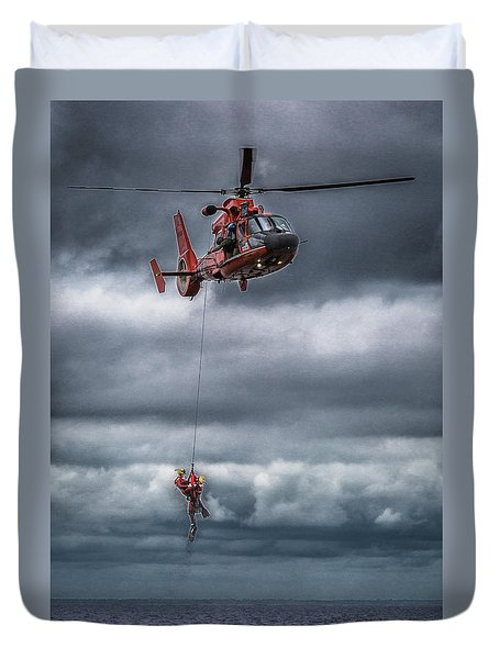 Coast Guard Rescue Operation  Duvet Cover