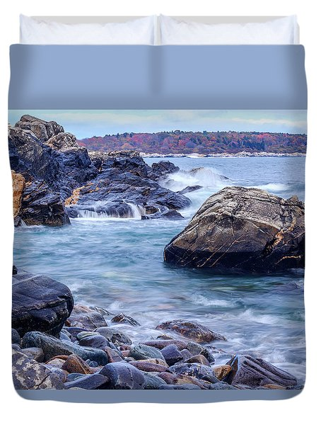 Duvet Cover featuring the photograph Coast Of Maine In Autumn by Doug Camara