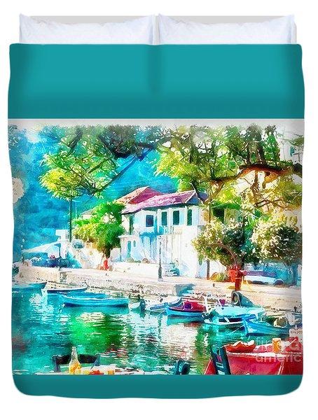 Coastal Cafe Greece Duvet Cover