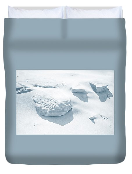 Duvet Cover featuring the photograph Coastal Dunes. Series Ethereal Blue by Jenny Rainbow