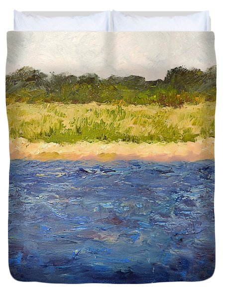 Duvet Cover featuring the painting Coastal Dunes - Square by Michelle Calkins