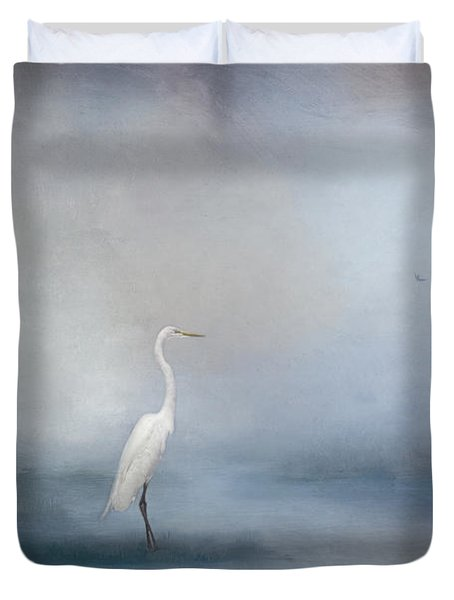 Coastal Egret Duvet Cover