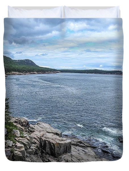 Coastal Landscape From Ocean Path Trail, Acadia National Park Duvet Cover