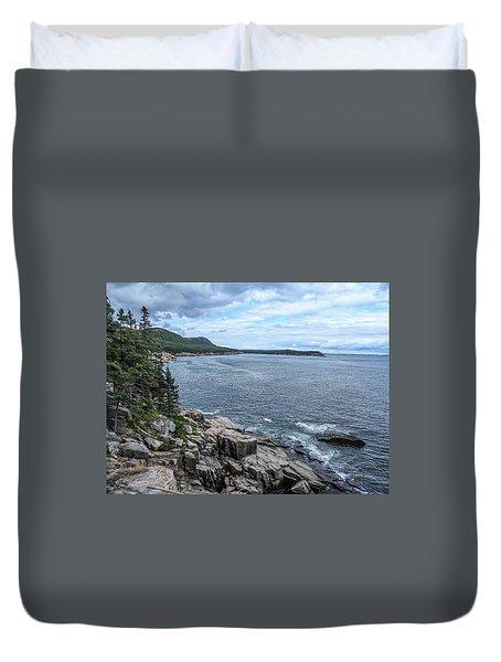 Coastal Landscape From Ocean Path Trail, Acadia National Park Duvet Cover