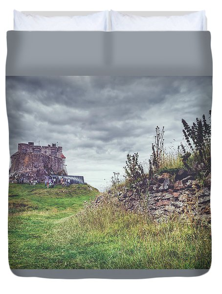 Duvet Cover featuring the photograph Coastal Lindisfarne by Ray Devlin