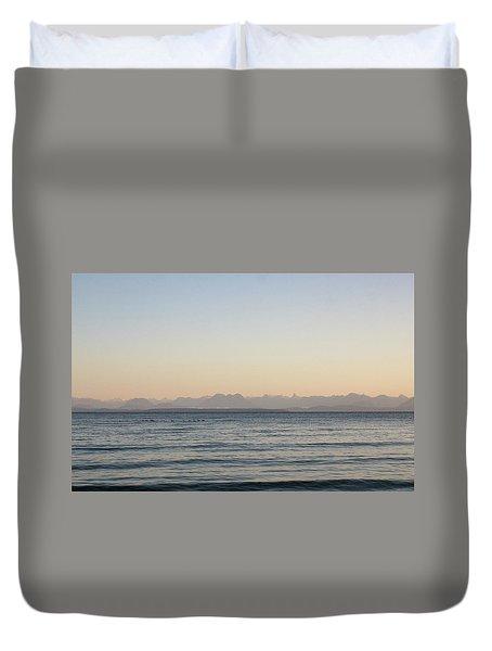 Coastal Mountains At Sunrise Duvet Cover