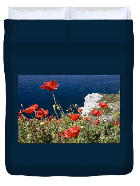 Coastal Poppies Duvet Cover by Richard Garvey-Williams