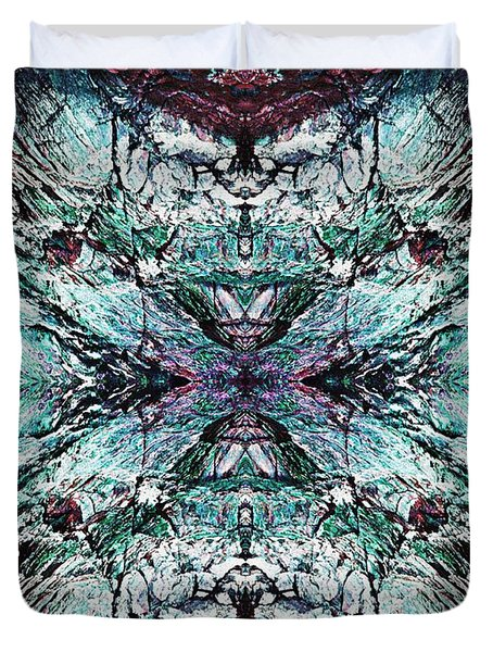 Coastal Rocks Brillig Turquoise Kaleidoscope Effect Duvet Cover