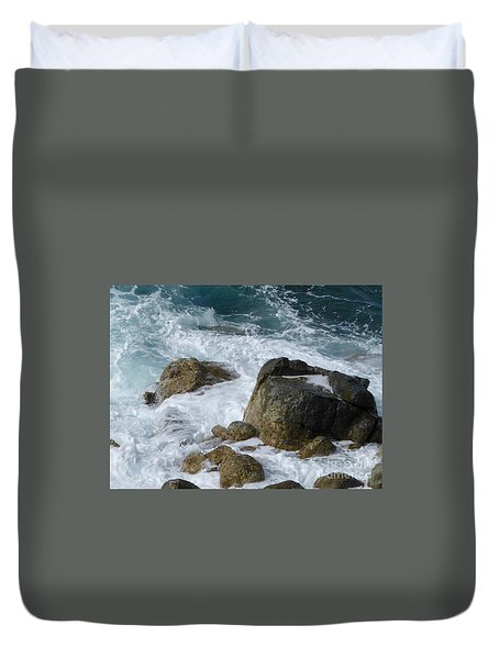 Coastal Rocks Trap Water Duvet Cover by Margaret Brooks