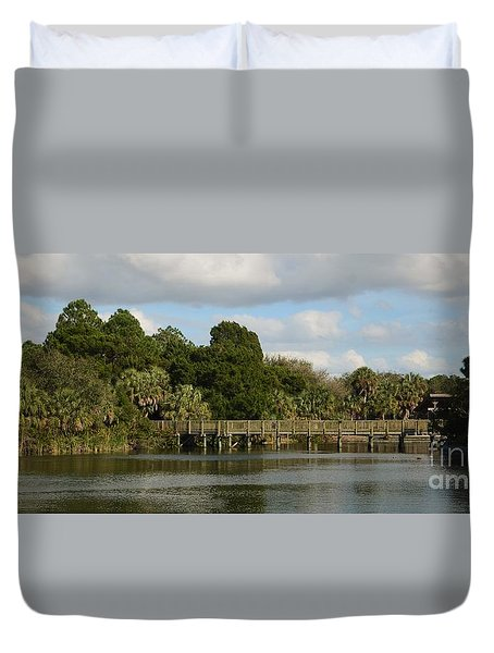 Duvet Cover featuring the photograph Coastal Serenity by Pamela Blizzard