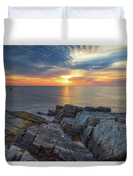 Coastal Sunrise On The Cliffs Duvet Cover