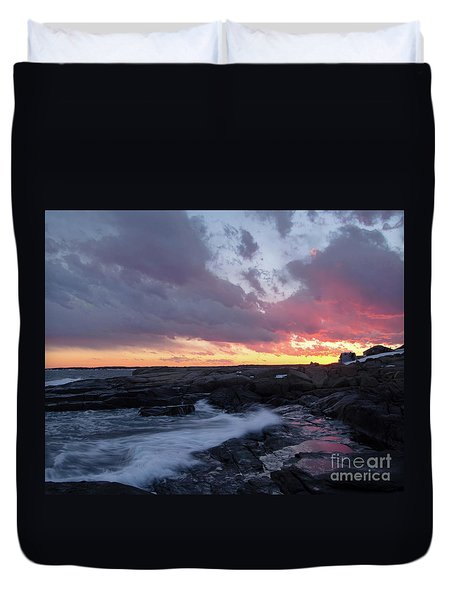 Coastal Sunset Cape Neddick - York Maine  -21056 Duvet Cover