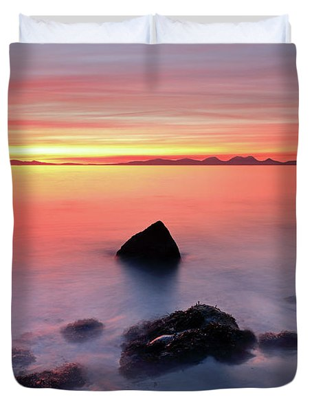 Duvet Cover featuring the photograph Coastal Sunset Kintyre by Grant Glendinning