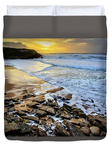 Duvet Cover featuring the photograph Coastal Sunset by Marion McCristall