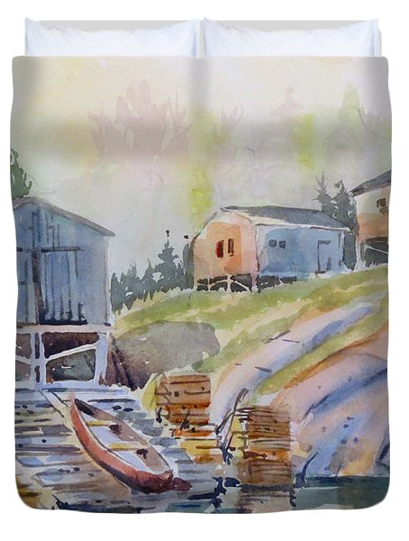 Coastal Village - Newfoundland Duvet Cover