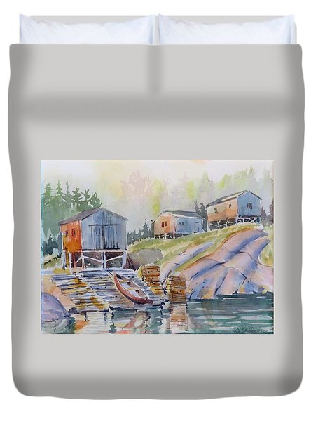 Coastal Village - Newfoundland Duvet Cover