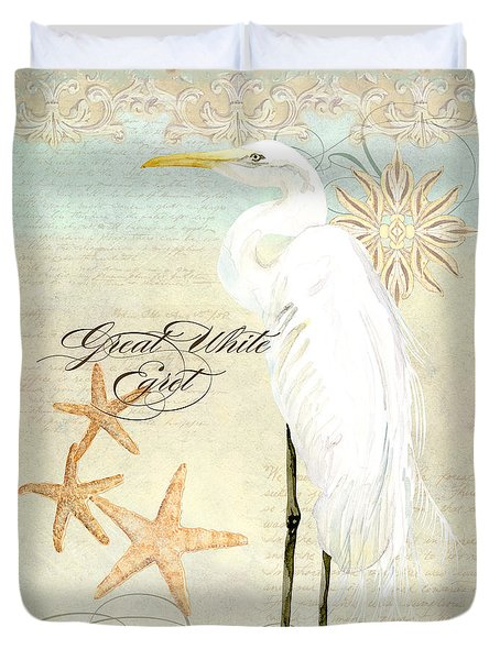 Coastal Waterways - Great White Egret 3 Duvet Cover by Audrey Jeanne Roberts