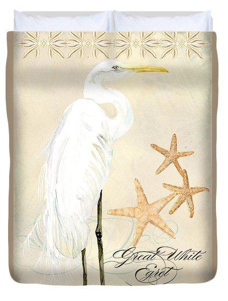 Coastal Waterways - Great White Egret Duvet Cover