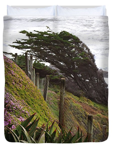 Coastal Windblown Trees Duvet Cover