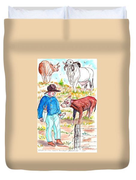 Coaxing The Herd Home Duvet Cover