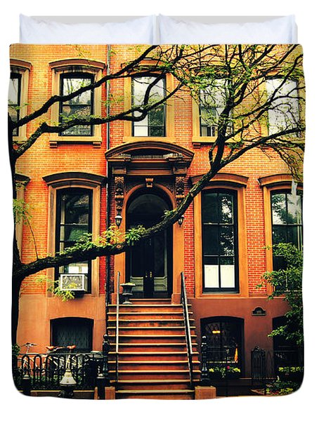 Cobble Hill Brownstones - Brooklyn - New York City Duvet Cover by Vivienne Gucwa