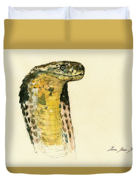 Cobra Snake Poster Duvet Cover by Juan  Bosco