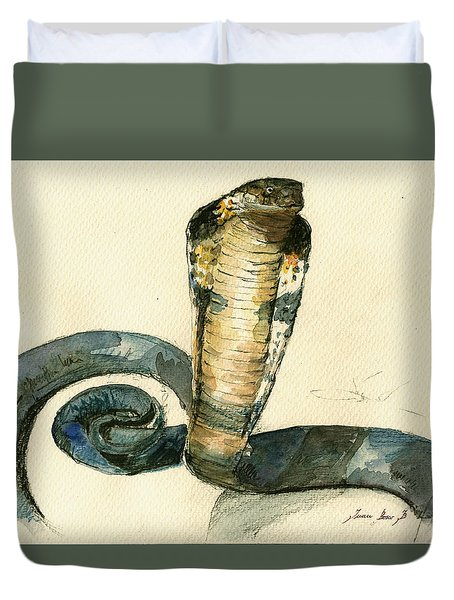 Cobra Snake Watercolor Painting Art Wall Duvet Cover by Juan  Bosco