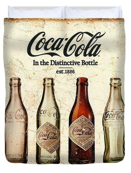 Coca-cola Bottle Evolution Vintage Sign Duvet Cover