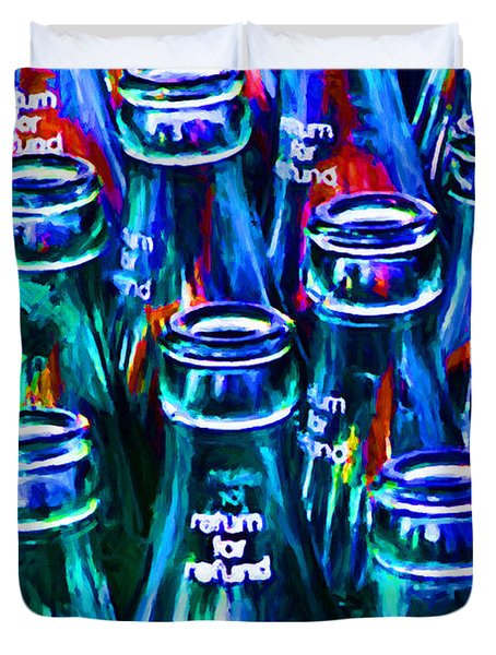Coca-cola Coke Bottles - Return For Refund - Painterly - Blue Duvet Cover