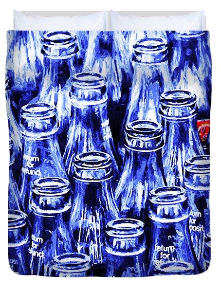 Coca-cola Coke Bottles - Return For Refund - Square - Painterly - Blue Duvet Cover