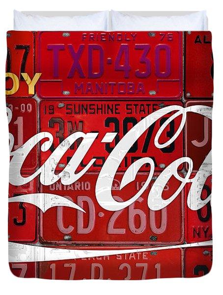 Coca Cola Enjoy Soft Drink Soda Pop Beverage Vintage Logo Recycled License Plate Art Duvet Cover