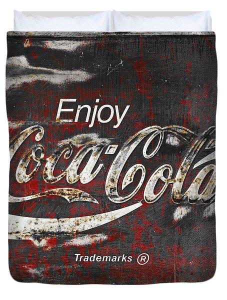 Coca Cola Grunge Sign Duvet Cover