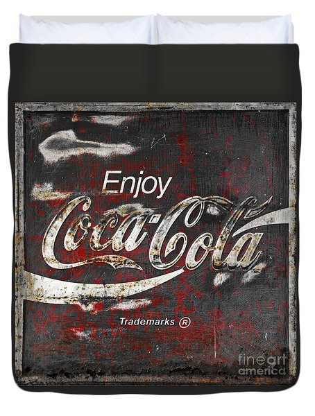 Coca Cola Grunge Sign Duvet Cover