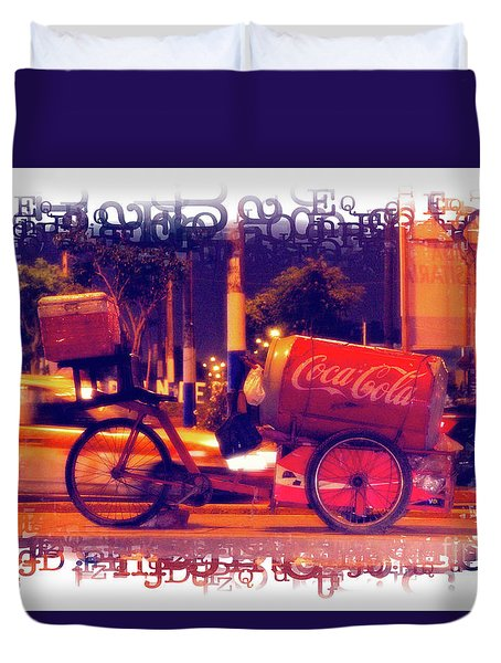 Duvet Cover featuring the photograph Coca Cola Tricycle Bin - Lima by Mary Machare