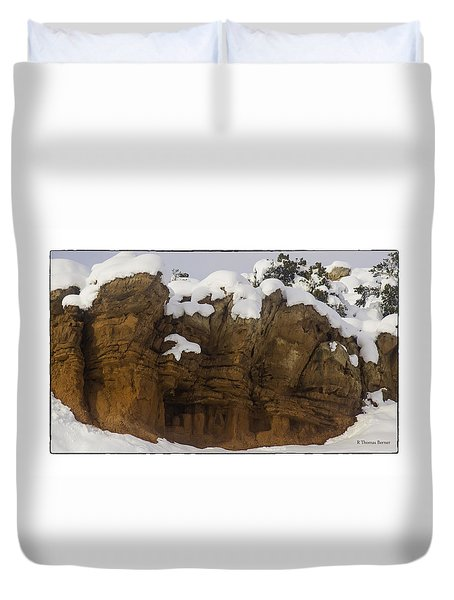 Duvet Cover featuring the photograph Cochiti Rocks by R Thomas Berner