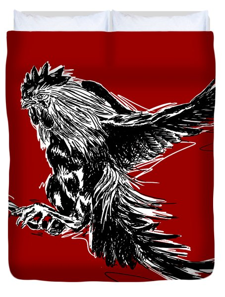 Cock Bw II Transparant Duvet Cover